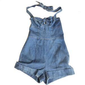 Betsey Johnson Vintage  Blue Jean Romper Size 4